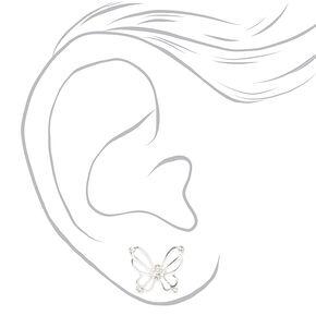 Silver Embellished Open Butterfly Stud Earrings,