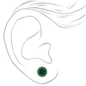 Cubic Zirconia 8MM Stud Earrings - Green,
