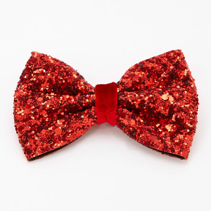Glitter Mini Hair Bow Clip - Red,