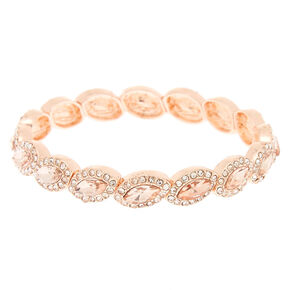 Rose Gold Rhinestone Halo Stretch Bracelet,