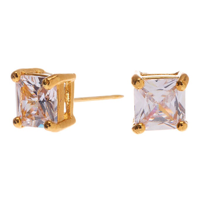 18kt Gold Plated Cubic Zirconia Square Stud Earrings - 5MM,