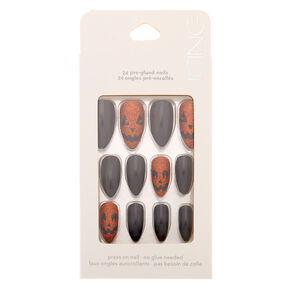 Glitter Pumpkin Faux Nail Set - Black, 24 Pack,