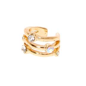 Gold Tone Triple Bar Iridescent Faux Crystal Ear Cuff,