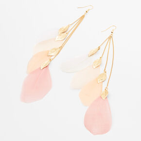 "Gold 6.5"" Ombre Feather Linear Drop Earrings,"