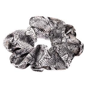 Velvet Snakeskin Hair Scrunchie - Gray,