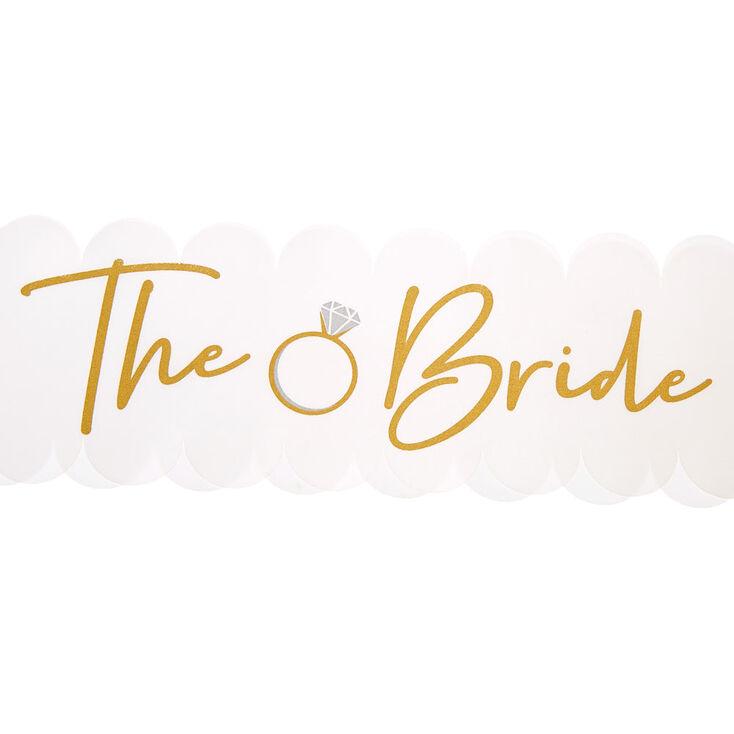 The Bride Scalloped Sash - White,