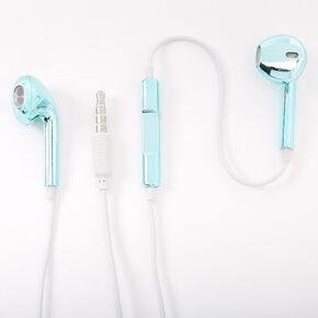 Metallic Earbuds with Mic - Mint,