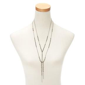 Hematite Beaded Multi Strand Necklace,