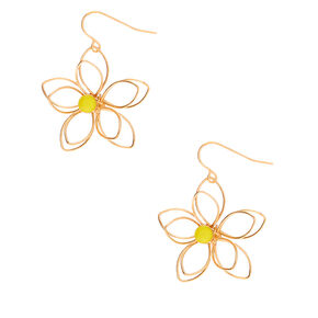 "Gold 1.5"" Wire Flower Drop Earrings - Yellow,"