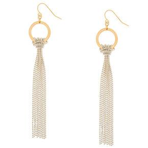 Gold Knotted Beaded Tassel Drop Earrings,