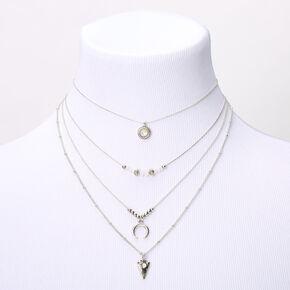 Silver Western Stone Multi Strand Necklace,