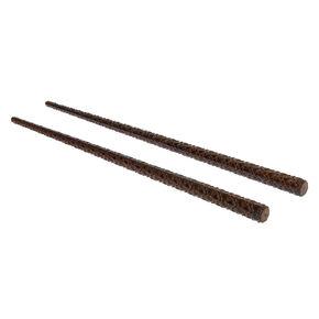 Dark Wooden Quilted Hair Sticks - Brown, 2 Pack,