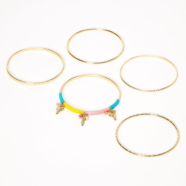Gold Feather Beaded Bangle Bracelets - 5 Pack,