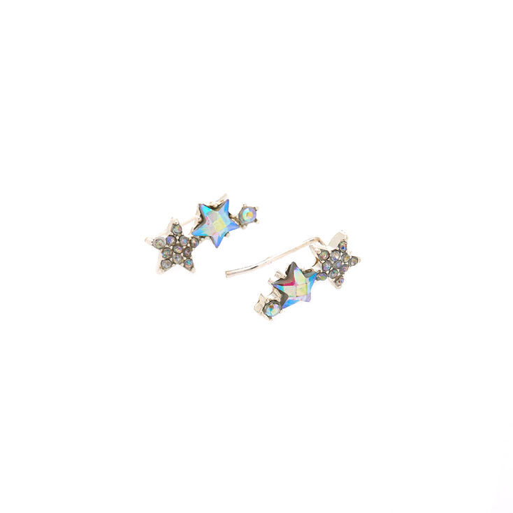"""Silver .5"""" Star Ear Crawler Earrings,"""