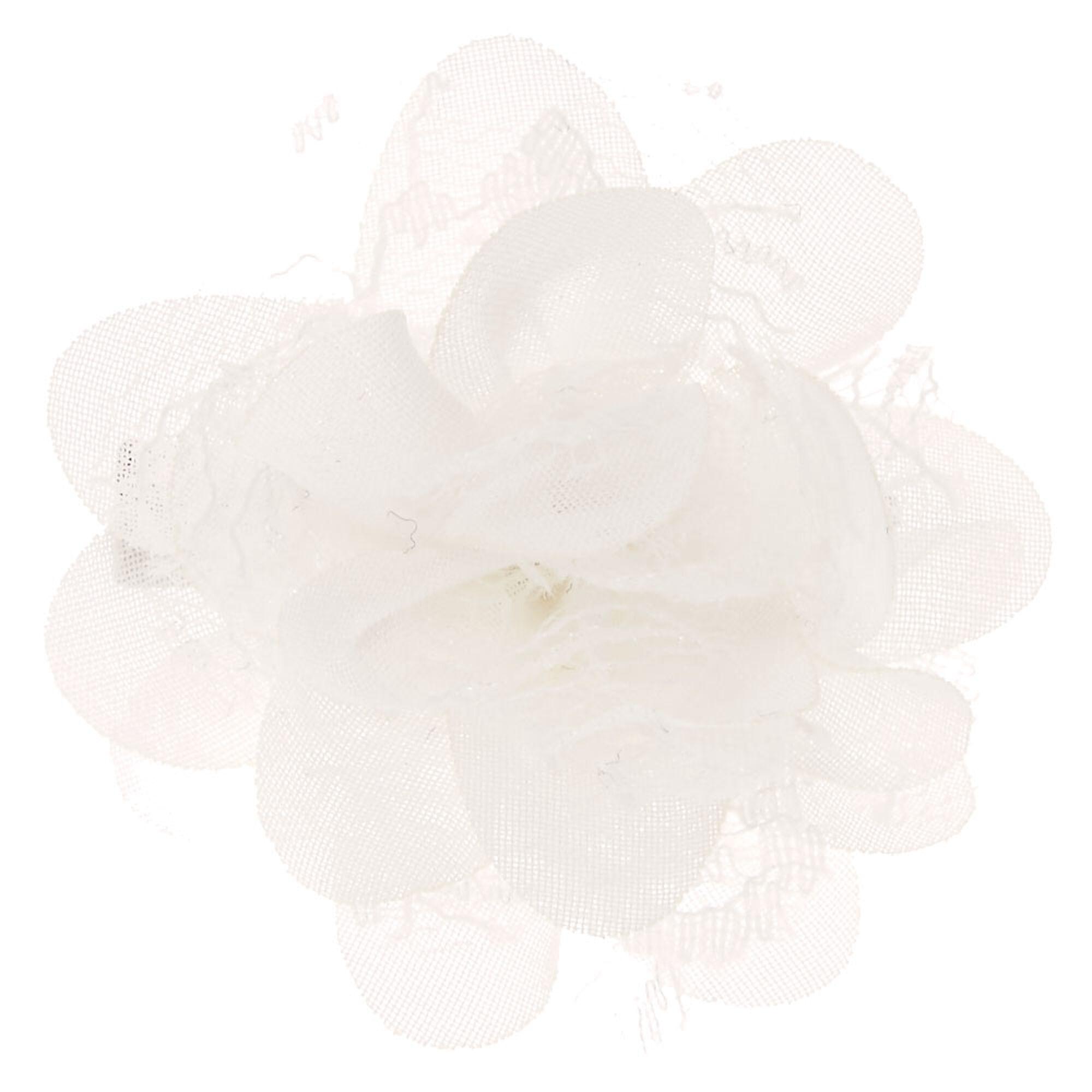 White Chiffon Mini Flower Hair Clip Icing Us