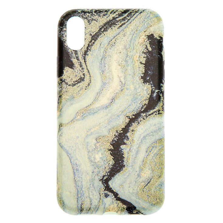 Black & Silver Glitter Agate Phone Case - Fits Iphone XR,