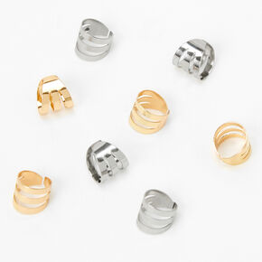 Mixed Metal Cuff Hair Rings - 8 Pack,