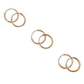 Gold 10MM Skinny Hoop Earrings - 3 Pack,