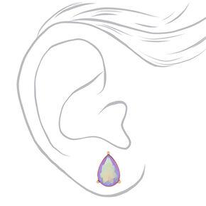 Iridescent Lilac Teardrop Stud Earrings,