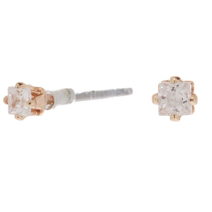Rose Gold Cubic Zirconia 2MM Square Stud Earrings,