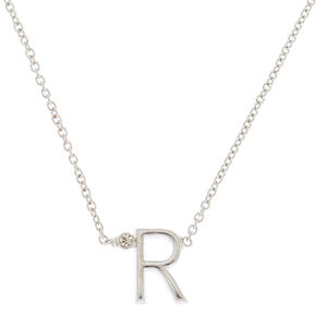 Silver Stone Initial Pendant Necklace - R,