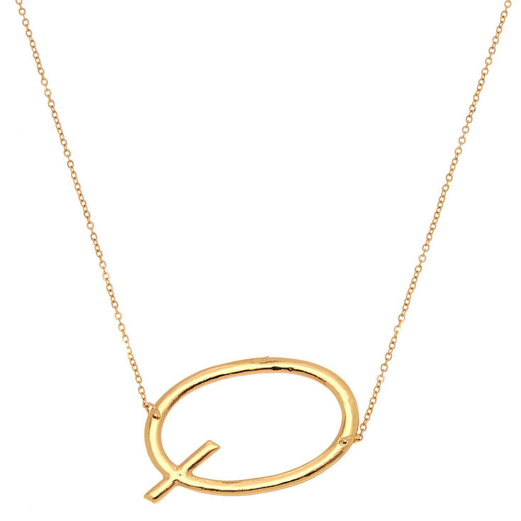 Oversized Initial Pendant Necklace - Q,