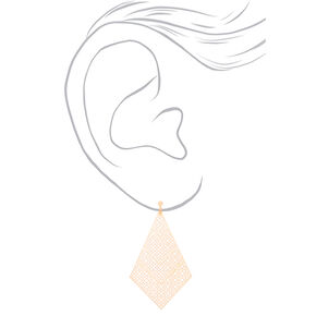 "Rose Gold 3"" Diamond Filigree Clip On Drop Earrings,"