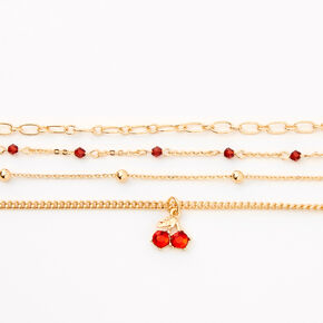 Gold Cherry Beaded Chain Bracelets - Red, 4 Pack,