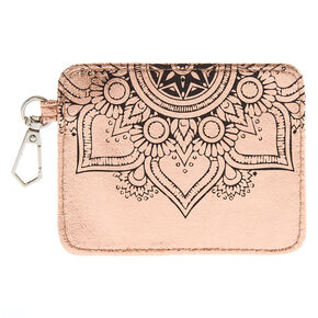 Metallic Rose Gold Mandala ID Holder,