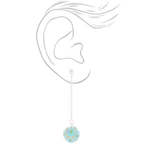 """2"""" Sequin Ball Drop Earrings - Turquoise,"""