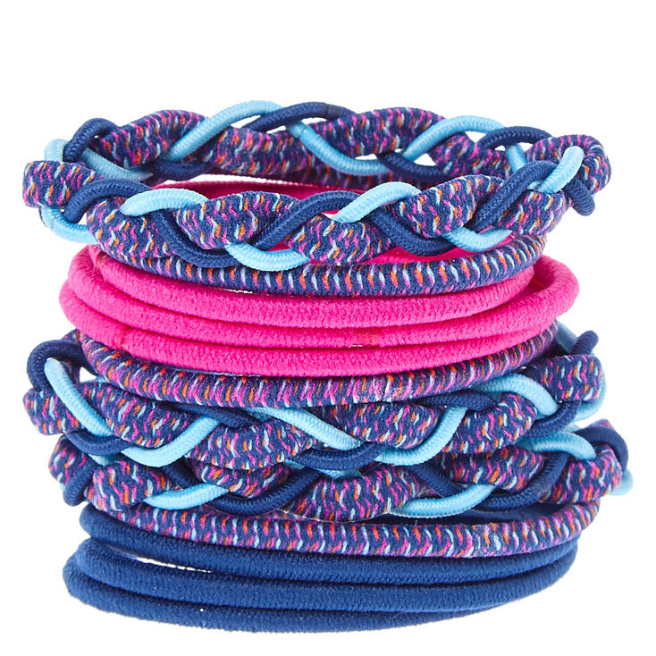 Magenta & Blue Braided Hair Ties,