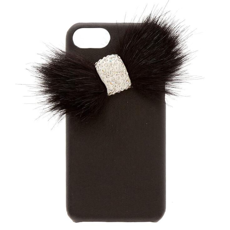 Black Faux Fur Bow Phone Case,