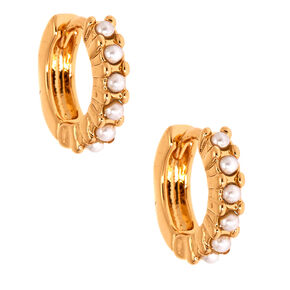 Gold 10MM Pearl Huggie Hoop Earrings,