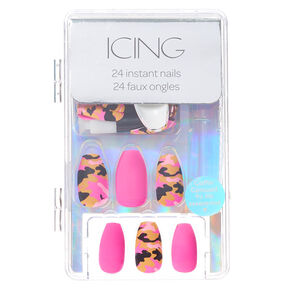 Mixed Camo Coffin Faux Nail Set - Pink, 24 Pack,