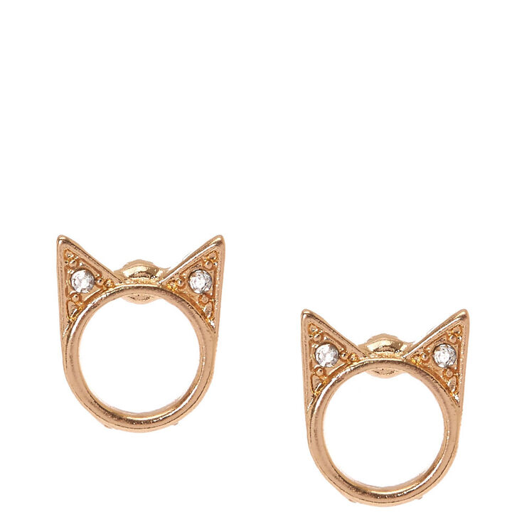 Gold-Tone Halo Cat Stud Earrings,