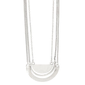 Silver Layered Chain Necklace,