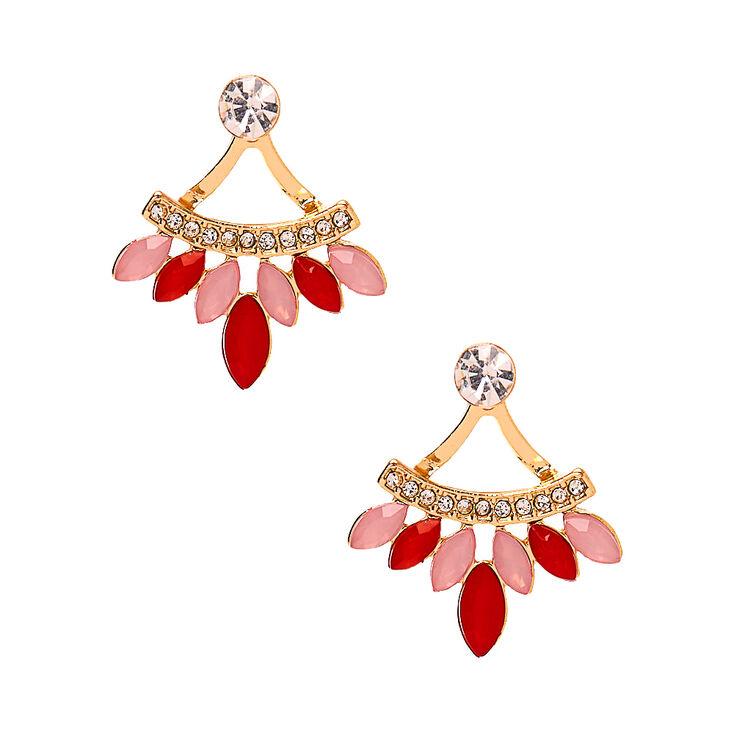 Gold Crystal Ear Jacket Earrings,