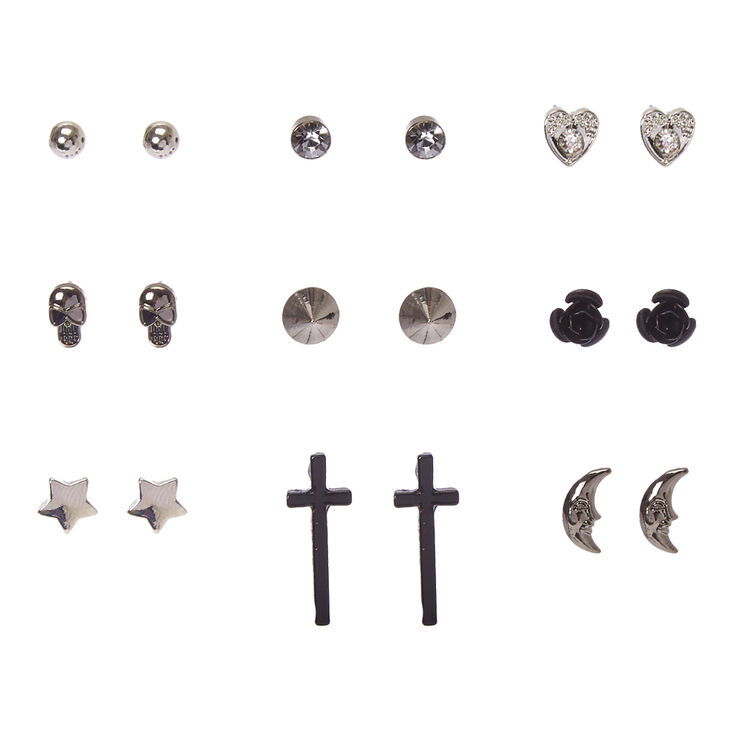 Black & Silver Celestial Gothic Stud Earrings,