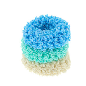 Fuzzy Glitter Hair Scrunchies - Blue, 3 Pack,