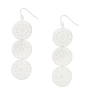 Silver Tone Filigree Circle Drop Earrings,