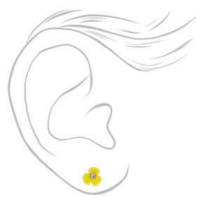 Sterling Silver Daisy Stud Earrings - Yellow,