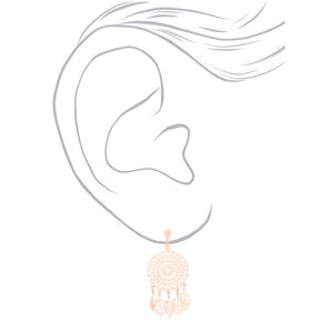 "Rose Gold 1"" Dream Catcher Clip On Drop Earrings,"
