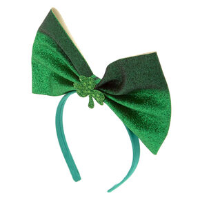 St. Patrick's Day Glitter Oversized Bow Headband,
