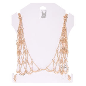 Rose Gold-Tone Bralette Body Chain,