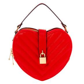 Chevron Heart Crossbody Bag - Red,