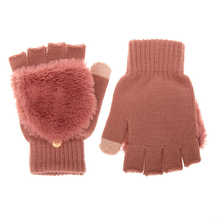 Fingerless Gloves With Fur Mitten Flap - Rose,