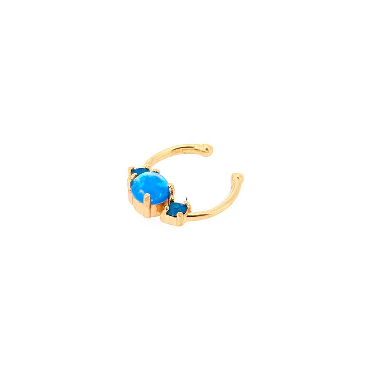 Turquoise Glass Stone Faux Septum Nose Ring,