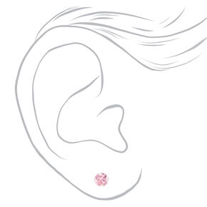 Sterling Silver Cubic Zirconia Round Stud Earrings - Pink, 5MM,