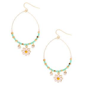 "Gold 2.5"" Daisy Beaded Drop Earrings,"