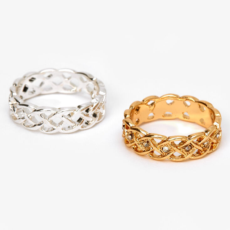 Mixed Metal Embellished Weave Rings - 2 Pack,